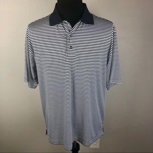 FootJoy Prodry Lisle Blue Striped Golf Polo Shirt